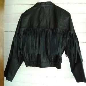 Vintage Leather Fringe Biker Babe Sanzzini Jacket